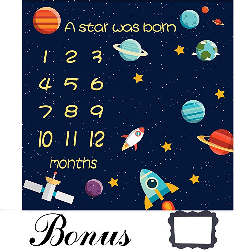 EARVO Baby Monthly Milestone Blanket 40 X40 Starry Galaxy Photography Blanket For Newborns Unique Baby Shower Gifts Props EADS215