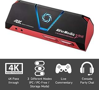 AVerMedia Live Gamer Portable 2 Plus, 4K Pass-Through, Capturadora de juegos 1080p60 USB , Baja latencia, Grabación, Stream, Plug and Play, para Xbox, Playstation, Switch (GC513)