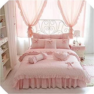 The Fairy Cherry Printing 100 Cotton Bedding Sets King Queen Size Bow Design Quilt Cover Ruffles Bedspread Bed Linen Pillowcases 4/6/8Pcs,Pink Without Lace,Full Size 8Pcs
