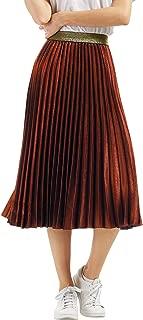 Womens Elastic-Waist Accordion Pleated Metallic Long Party Skirt
