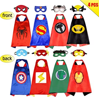 Superhero Capes for Kids, Cartoon Satin Capes Costume Set with Felt Mask for Kids Dress up Party