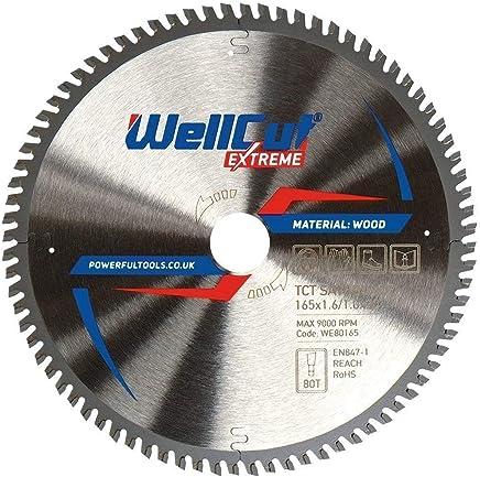 WELLCUT Extreme Lame de scie circulaire 165 x 20 mm 80 dents pour Festool Bosch Makita DeWalt etc. Pointe en carbure de tungstène (TCT) de qualité industrielle