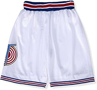 Youth Basketball Shorts Moive Costume 90S Space Jam Sports Pants for Kids S-XL White