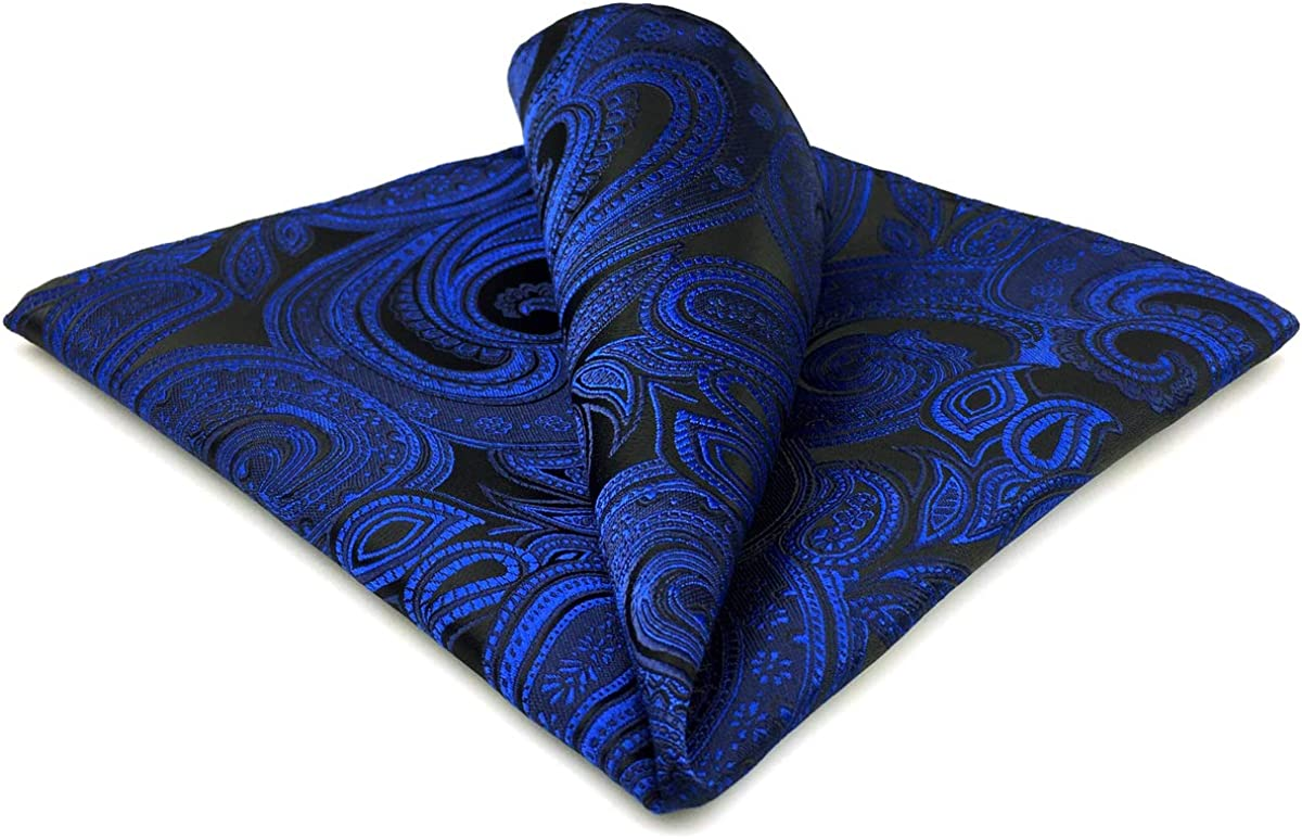 SHLAX&WING Navy Blue Paisley Silk Pocket Square Mens Hanky Designer Large