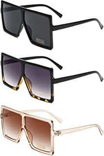 Square Oversized Sunglasses for Women Men Flat Top...