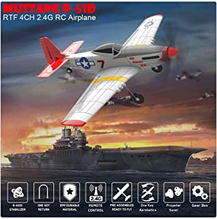 BLACKOBE RC Plane, Remote Control Airplane Glider 761-5, Mustang P-51D 4CH, 6-axis Stabilizer, Safe Aircraft for Beginners...