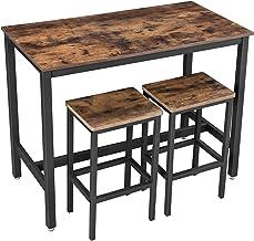 VASAGLE bartafel set, bartafel met 2 barkrukken, aanrecht met barstoelen, keukentafel en keukenstoelen in industrieel ontwerp, voor keuken, 120 x 60 x 90 cm, vintage, donkerbruin LBT15X