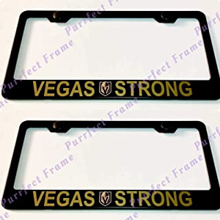 Billion_Store 2X Golden Vegas Strong Golden Knights Black Stainless Steel License Plate Frame The Best Accessories for Auto-Tuning