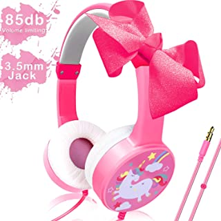 Camlinbo Kids Headphones Girls Unicorn Toddler Earphones 85dB Volume Limiting Wired Adjustable On Ear Headphones 3.5mm Jack Bowknot Pink Headset Birthday School Travel Gift Airplane/Phone/Tablet/MP3