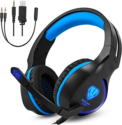 Over-Ear Stereo Gaming Headphone, Megadream 3.5mm Gaming Headset Noise Cancelling with Microphone & LED Light for Xbox One/Xbox one S PS4 / PS4 Pro / PS4 Slim PC Notebook Mac Laptop Tablet Phones