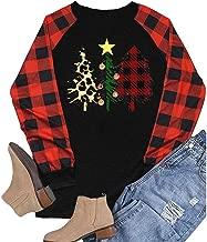$35 » HAPPIShare Merry Christmas Plaid Leopard Printed Tree Baseball T-Shirt Womens Casual 3/4 Sleeve Letter Print Graphic Tees