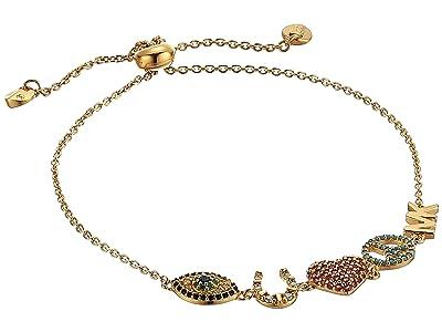 Michael Kors Sterling Silver Lucky Slider Bracelet (14K Gold Plating) Bracelet