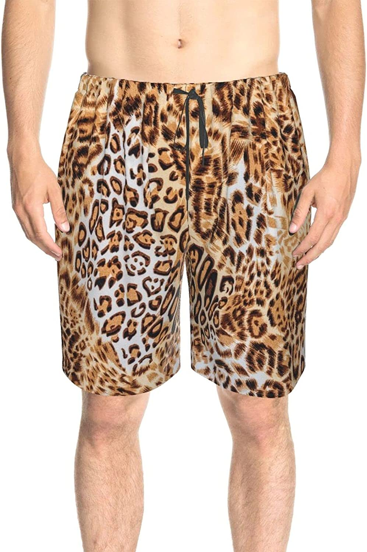 Mens Bathing Suits Animal Leopard Skin Beachwear Board Shorts Drawstring Elastic Swimming Trunks with Mesh Lining