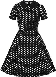 Women's Retro Polka Dots Peter Pan Collar Pocket Casual Shirt Dress