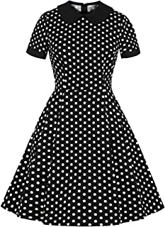 Wellwits Women's Retro Polka Dots Peter Pan Collar Pocket Casual Shirt Dress