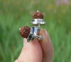 Rudraksha Earrings Silver Kundalini Yoga Hindu Jewelry, Real 5 Mukhi Rudraksh Seed Bead, HANDMADE