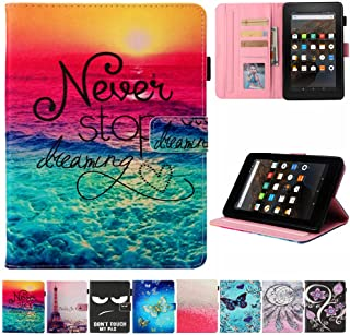 Kindle fire 7 Case - JZCreater Slim Leather Smart Case Cover with Auto Wake/Sleep for All-New Amazon Fire 7 Tablet (7inch Display 5th Generation 2015 & 7th Generation 2017), Dreams