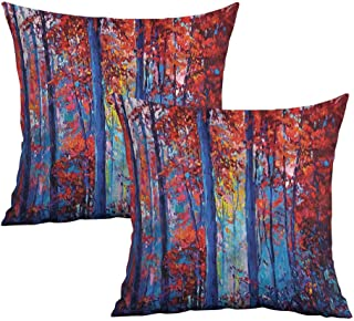Khaki home Forest Square Funny Pillowcase Oil Painting Style Autumn Square Pillowcase Covers with Zipper Cushion Cases Pillowcases for Sofa Bedroom Car W 18