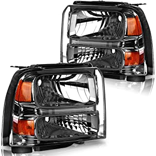 For 2005-2007 Ford F250 F350 F450 F550 Super Duty Headlights I 2005 Ford Excursion Headlamp Replacement OEDRO Clear Lens,Black Housing Headlight Set