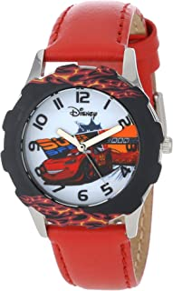 Disney Kids' W001010 Tween Cars Stainless Steel Printed Bezel Red Leather Strap Watch