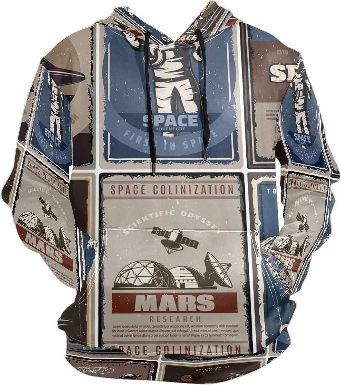 Vintage Space Poster Spaceship Astronaut Ufo Mens Sport Hoodie Big and Tall Hoodies for Men Women Oversized Hooded Sweatshirt Hip Hop Pullover Hoodie Midweight Hood for Boys Girls