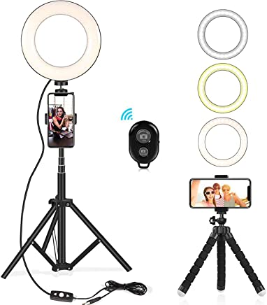 "Selfie Ring Light Kit 6.5"" with Extendable Light Stand, Flexible Tripod Stand & Cell Phone Holder for YouTube Video Shooting/Live Stream/Makeup/Vlogs/Desktop with 3 Light Modes for iPhone, Android"