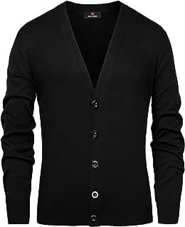 Mens Stylish V-Neck Button Placket Cardigan Sweater with Ribbing Edge