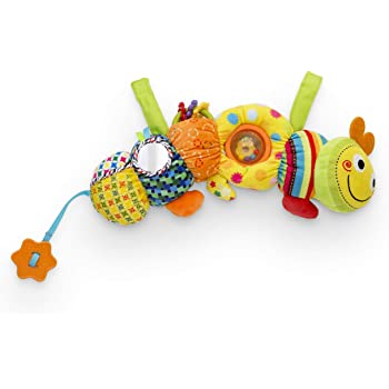 Delta Children Stroller Car Seat Activity and Teething Toys for Babies, Plush Toys Feature Crinkly Sounds, Teethers, Rattles, Mirrors, Sensory Motor Skills Development, 1-Piece Set Caterpillar