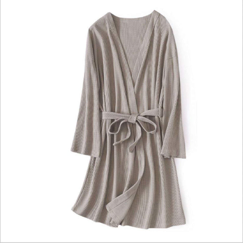 White Island Spring Women Casual Simple Robe Ladies Warm 100% Cotton Bathrobe Couples VNeck Collar Robes
