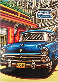 Retro Art Puzzle - 300/500/1000 Large Piece Jigsaw Puzzle for Adults Kids with Classic Cars and Historic Scene Wooden Game...