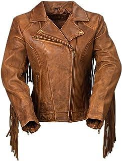 Whet Blu The Daisy Women's Fringed Leather Jacket,Whiskey,Large