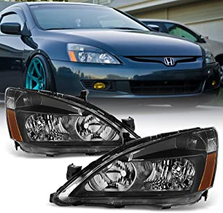 ACANII - For Black 2003-2007 Honda Accord 2Dr 4Dr Crystal Headlights Headlamps Driver + Passenger Side