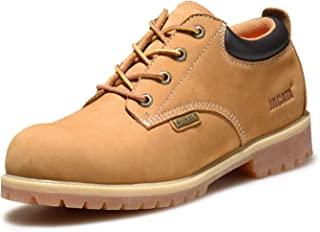 Jacata Men's Low-Cut Work or Mid-Cut Casual or Heavy Duty Leather Boots with Steel Toe Option/Driving Loafer/Walking Mesh Sneaker/Vegan Moccasin Water Resistant Shoes
