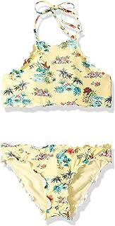 Big Girls' High Neck Bikini Top and Hipster Bottom Swimsuit Set