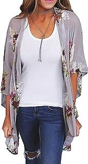 Zexxxy Women Floral Print Kimono Sheer Chiffon Cardigan Half Sleeve Cover Up