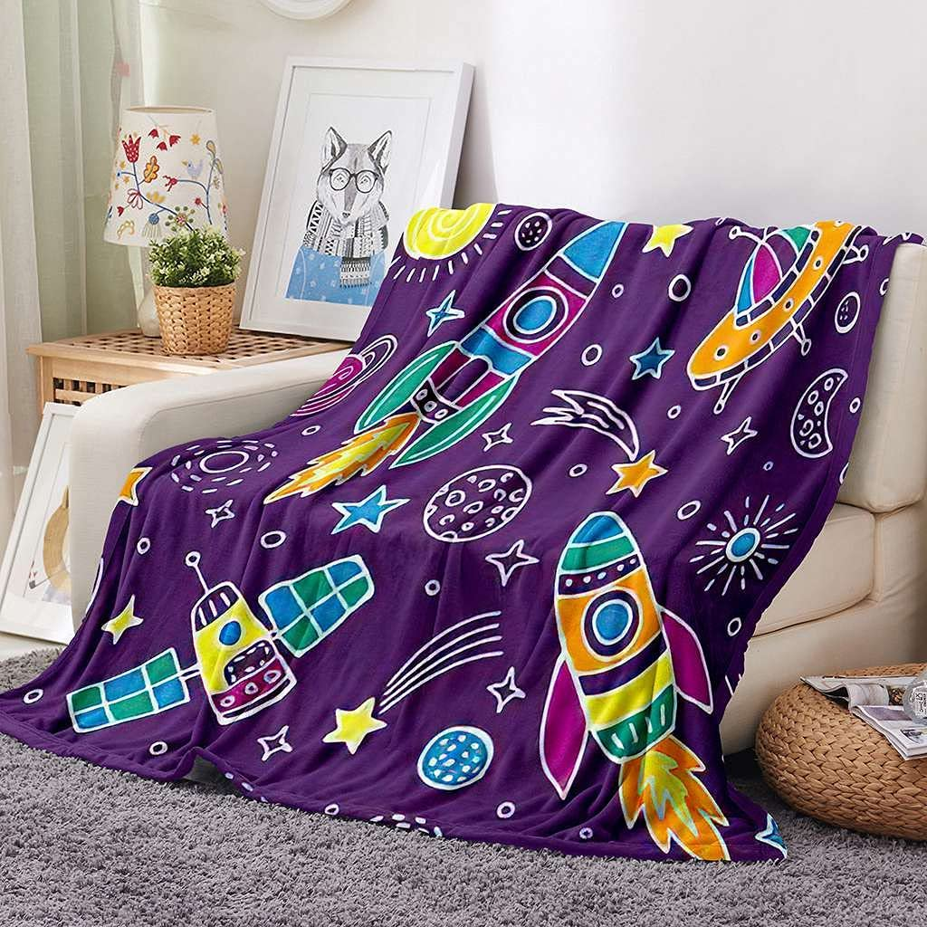 Space Blanket Warm Fuzzy Cheap mail order sales Lightweight Fleece Plush Cozy Over item handling Bla Solid