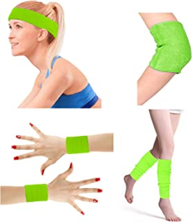 80's Retro Running Jogging Sports Headband Wristbands Leg Warmers Elbow Guard Set For Women Girls