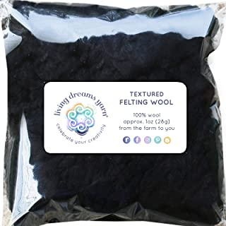 TEXTURED FELTING WOOL. Corriedale Fiber includes CURLY LOCKS for Needle Felting, Spinning, Doll Hair and Waldorf Crafts - Obsidian