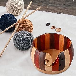 HIGHKAS Bol de Fil en Bois, Bol de Rangement de Fil à la Main pour Tricoter au Crochet, Artisanat Kit de Crochet Organisat...