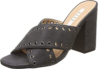 ELLE Women's Black Fashion Sandals-5 UK/India (38 EU) (HYD-D46)