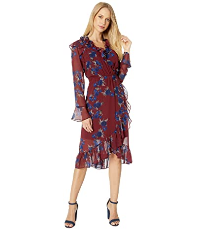 kensie Rhythm and Blues Floral Long Sleeve Faux Wrap Dress KS9K8395 (Mulberry Combo) Women