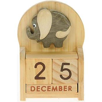 Elefante : legno calendario perpetuo: tradizionale a mano Idee Regalo di Natale: Dimensioni 10,5 x 7 x 3,5 centimetri: Compra un insolito e stravagante regalo di Natale alternativo per un calendario dell'Avvento: unico e nuovo regalino: Regali per tutte le età! regalo per sempre