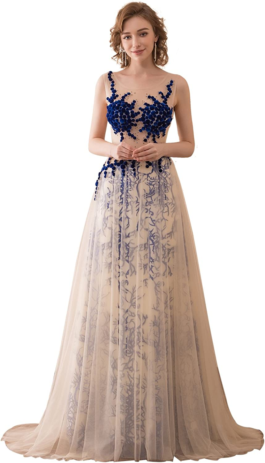 Epinkbridal Sleeveless Lace Evening Formal Dress with Illusion Bodice Long Prom Gowns