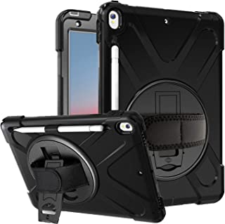 """Azzsy iPad Air 3 Case 10.5"""" 2019/iPad Pro 10.5 Case 2017,[360 Degree Swivel Stand/Hand Strap] Heavy Duty Shockproof Rugged Full Body Protective Case for iPad Air (3rd Generation) 10.5"""" 2019,Black"""