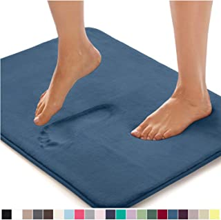 GORILLA GRIP Original Thick Memory Foam Bath Rug, 36x24, Cushioned, Soft Floor Mats, Absorbent Premium Bathroom Mat Rugs, Machine Washable, Luxury Plush Comfortable Carpet for Bath Room, Blue