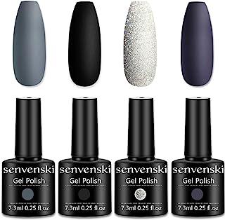 Senvenski Gel Nail Polish Grey Black White Glitter Dark Mothers Day Easter Girlfriend Gift for Women Mom Soak Off Gift Set...