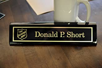 Custom Desk Name Plate with Logo | Personalized Gold Aluminum Engraved Black Wedge | Free Engraving | Custom Name Wedge | Gifts for Professionals