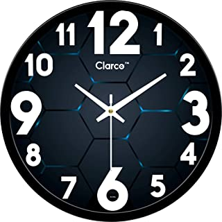 Clarco Brand Big Size Designer Analogue Round Plastic Wall Clock with Glass for Home/Living Room/Bedroom/Kitchen/Office (1...