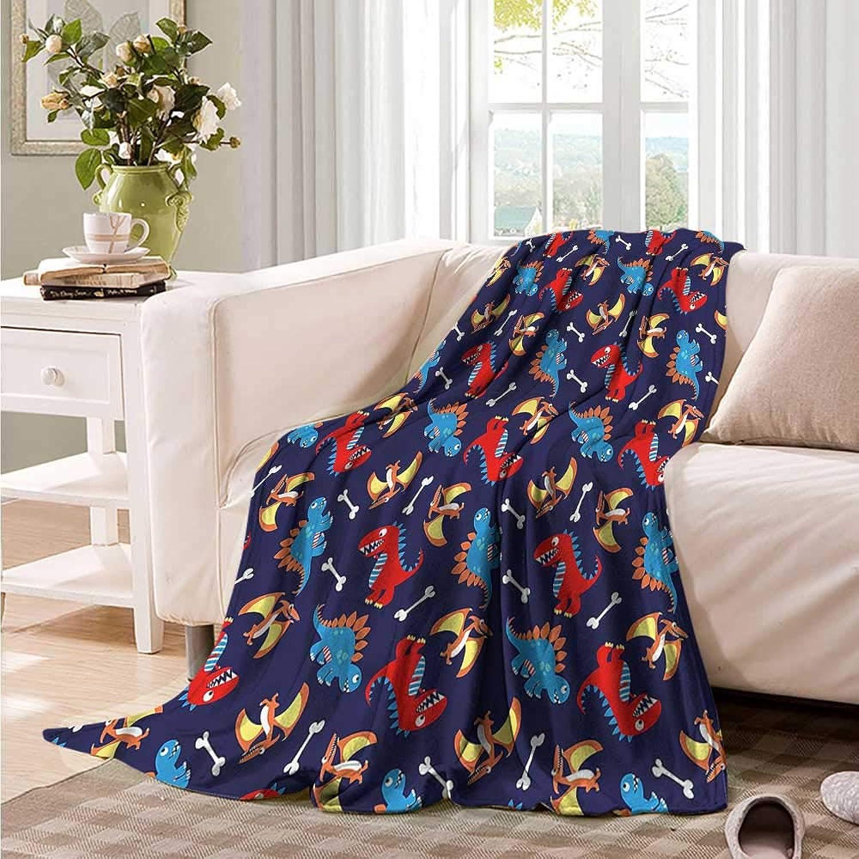 Oncegod Flannel Blanket Dinosaur Funny Kids Cartoon car Airplane Travel Throw 60  W x 51  L