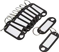 Wedo 262101801 Schlüsselanhänger Kunststoff (mit Ring, auswechselbare Etiketten) 10 Stück, schwarz, 17 x 10 x 1cm